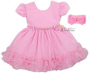 Vestido De Festa Bebê Luxo Realeza Com Faixinha
