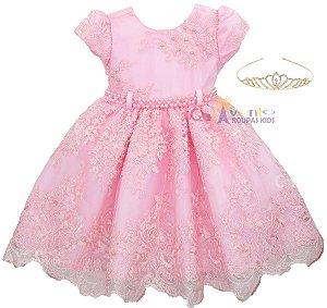Vestido Infantil Daminha Realeza Chuva De Benção Com Coroa