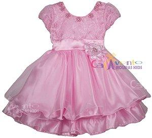 Vestido Princesa Minnie Rosa Barbie Luxo Infantil Com Tiara