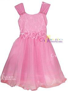Vestido De Festa Infantil Princesa Aurora Gata Marie com Tiara