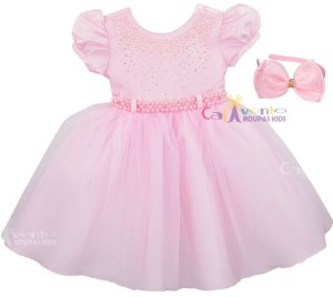 Vestido Infantil Princesa Realeza Chuva De Amor com Tiara