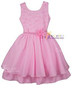 Vestido de Festa Infantil Princesa Realeza Rosa com Tiara