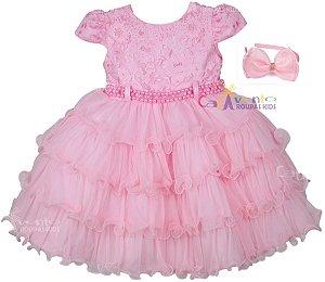 Vestido Festa Princesa Realeza Peppa Minnie Baby Alive com Tiara