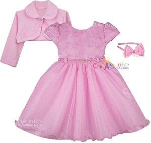 Vestido Infantil Daminha Rosa Chuva De Amor com Bolero e Tiara