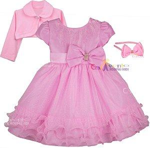 Vestido Infantil Luxo Princesa Rosa Barbie com Bolero E Tiara
