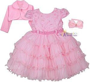 Vestido Princesa Realeza Peppa Minnie Baby Alive Com Bolero e Tiara