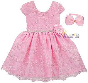 Vestido Infantil Realeza Rosa com Tiara de Brinde