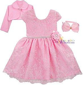 Vestido Infantil princesa Realeza Rosa com Bolero e Tiara de Brinde