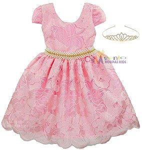 Vestido Festa Princesa Realeza Rosa Dourado Com Coroa