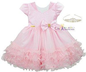 Vestido Infantil Princesa Realeza Chuva De Benção Com Coroa