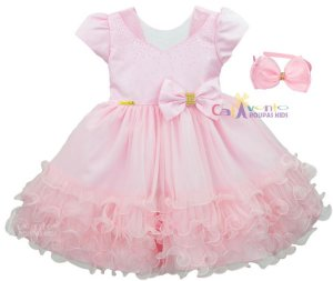 Vestido Infantil Minnie Rosa Peppa Aurora Realeza Com Tiara