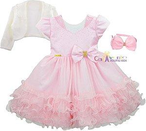 Vestido Infantil Minnie Rosa Gata Marie Com Bolero E Tiara