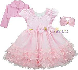 Vestido Infantil Minnie Rosa Peppa Aurora Gata Marie com Bolero e Tiara
