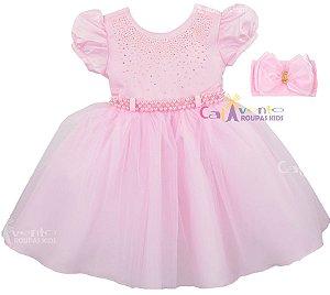 Vestido Infantil Princesa Realeza Chuva De Amor  com Faixa