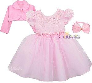 Vestido Infantil Princesa Realeza Chuva De Amor co Bolero e tiara