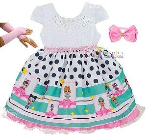 Vestido Infantil Festa Boneca Lol Surprise Com Luvas E Tiara 33b1e0207d8