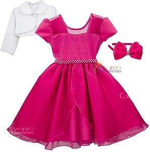Vestido Festa Infantil Princesa  Realeza Pink Luxo com Bolero e Tiara