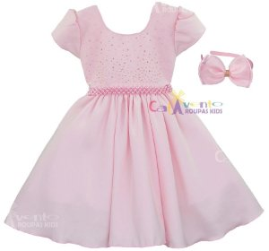 Vestido Bailarina Rosa Princesa Formatura Festa Infantil com Tiara