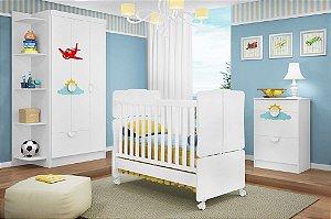 Dormitório Bebê Avião - Roupeiro + Cômoda + Berço