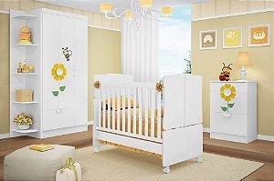Dormitório Bebê Abelha - Roupeiro + Cômoda + Berço