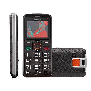 Senior Fone SEMP GO 1e, fácil de usar, teclas grandes, Função SOS, acompanha base de fácil carregamento, lanterna