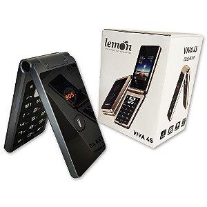 Celular Flip Convencional VIVA 4S c/ Função SOS, Câmera e MP3 Lemon