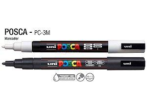 Kit Caneta Uni Posca PC-3M Branca E Preta