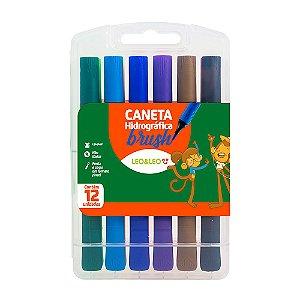 Canetinha Colorida Infantil Leo&Leo Brush 12 Unidades
