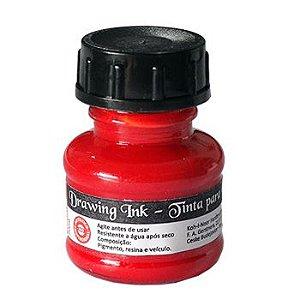 Tinta Nanquim Para Caligrafia e Desenho Drawing Ink - Koh-I-Noor Vermelha - 20ml