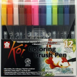 Conjunto Koi Coloring Brush Pen Sakura - 12 Cores