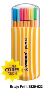 Estojo Caneta Stabilo Point 88 Com 20 Cores
