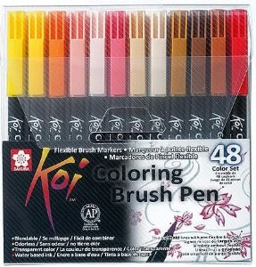 Conjunto Koi Coloring Brush Pen Sakura - 48 Cores