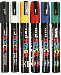 Estojo Caneta Posca Uni Ball Pc-5m Com 06 Cores Sortidas