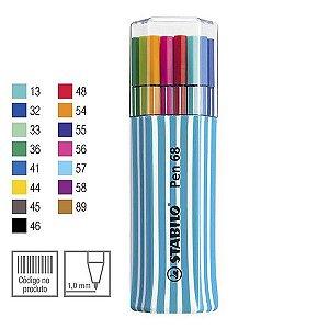 Estojo Azul Caneta Stabilo Pen 68 Com 15 Cores