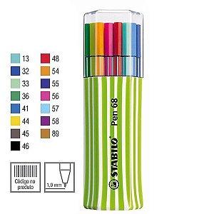 Estojo Verde Caneta Stabilo Pen 68 Com 15 Cores
