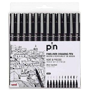 Kit Caneta Nanquim Uni Pin Preta Com 12 Unidades