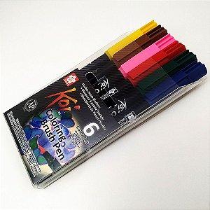 Conjunto Koi Coloring Brush Pen Sakura - 6 Cores