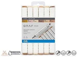 Caneta Marcador Artístico Cis Graf Duo 2 Pontas Conjunto Com 6 Cores Tons de pele