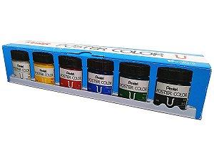 Kit Tinta Guache Para Caligrafia e Desenho Pentel Poster Color 6 Cores