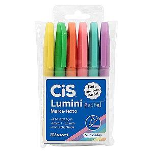 Estojo Caneta Marca Texto Cis Lumini Pastel 6 Cores