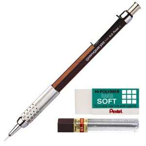 Kit Lapiseira Pentel Graphgear 500 0.3mm + Grafite 0.3 HB + Borracha Hi-Polymer