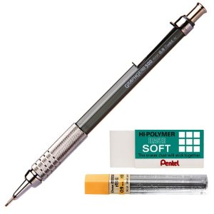 Kit Lapiseira Pentel Graphgear 500 0.9mm + Grafite 0.9 HB + Borracha Hi-Polymer
