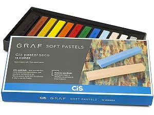 Giz Pastel Seco Cis Graf Soft Pastels 12 Cores Básicas