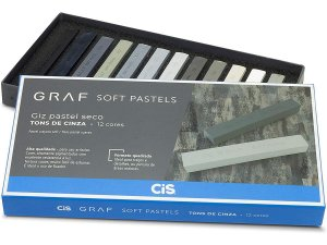Giz Pastel Seco Cis Graf Soft Pastels 12 Cores Tons De Cinza