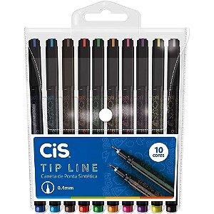 Caneta Extra Fina Cis Tip Line 0.4mm Estojo Com 10 Cores
