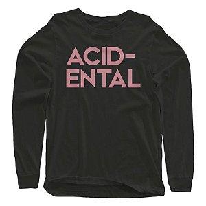 """Acidental """"LOGO"""" Camiseta MANGA LONGA Preta"""