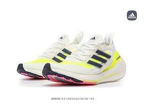 Adidas Ultra Boost 2021 - Branco/Preto/Amarelo