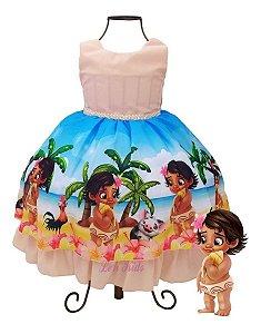 Vestido Infantil Moana Baby 1 A 4 anos