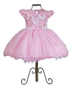 Vestido Luxo Tema Jardim Encantado Borboletas Rosa 1 Ano