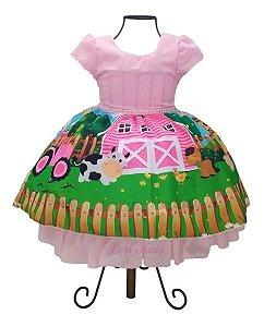 Vestido Tema Fazendinha Rosa 1 A 4 Anos